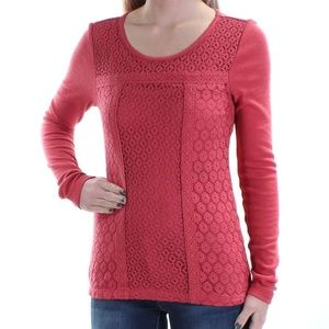 Lucky Brand Lace Patched Top Thermal Small Red